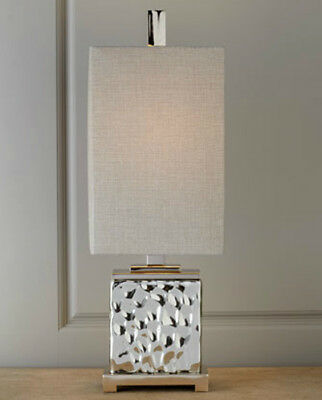 Nickel Plated Water Glass End Table Lamp Modern Chic Light Silver Gray Shade