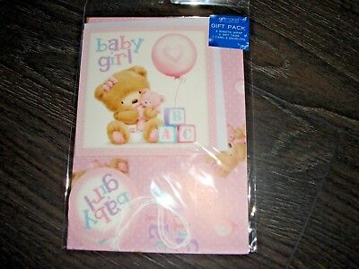 """""""Baby Girl"""" Pack of 2 Sheets Wrapping Paper Gift Tags a Card Pre packed FP"""