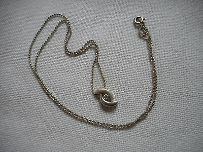 Vintage brushed sterling paste pendant on sterling silver chain,18""