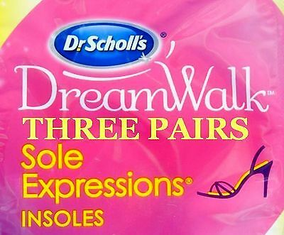 Dr Scholls Insoles 3 Pairs Dream Walk Sole Expression  Women's Size 6-10 New