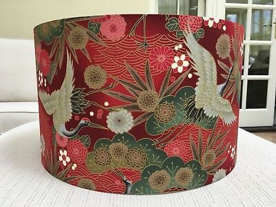 Handmade Lampshade Japanese Oriental Cranes Fabric Gold Floral Birds Exotic Red