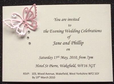 25 x PERSONALISED BUTTERFLY WEDDING//EVENING INVITATIONS