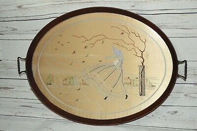 Large Oval Silk Embroidered Crinoline Lady Wooden Glass Serving Tray Art Deco