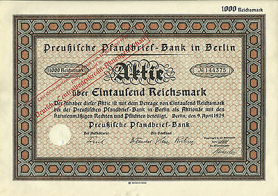 Preußische Pfandbrief-Bank Berlin 1929 Aktie RM Deutsche Centralbodenkredit AG