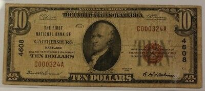 1929 $10 National Currency Note National Banknote of Gaithersburg MD CH#4608 VG