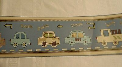"LAMBS & IVY Wallpaper Border Nursery Lil Hwy 8""x30' Trucks Cars NEW"