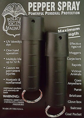 2 PACK Police Magnum pepper spray 1/2oz Black Spin Top Keychain Safety Security
