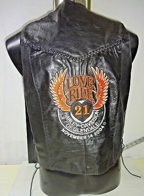 Harley Davidson Embroidered Event Leather Vest Black Braid Lacing 04 Wings Ride