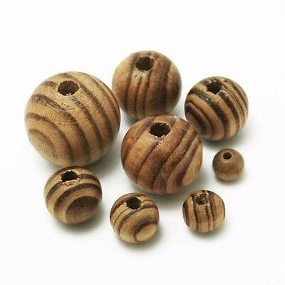 50 PCS Round Pine Wood Stripe Beads Wooden Spacer Beads Bracelet Chain Necklace