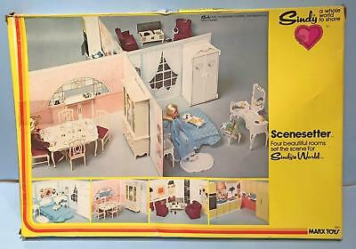 Vintage SINDY Doll Scenesetter 4 Rooms For Furniture 1978 Marx Barbie Sz  Diorama