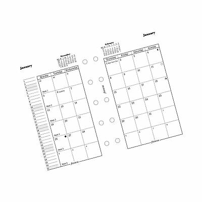 Filofax Month on Two Pages Refill for 2016 Mini Size Yearly Calendar, 4.125 x...