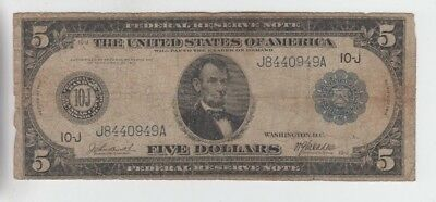 Federal Reserve Note $5 1914 low grade