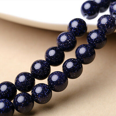 """8mm Natural Smooth Blue Sandstone Round Gemstone Loose Beads Strand 15"""" AAA"""