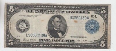 Federal Reserve Note $5 1914 fine stains
