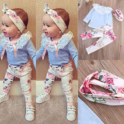 Mignon 3pcs Bébé Fille Ensemble Top Dentelle T-shirt Floral Pantalon Bandeau