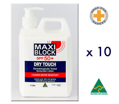 Maxi Block SPF 50+ Sunscreen Dry Touch * Made in Australia 10 x 1L Bottles