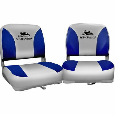 Set of 2 Swivel Folding Boat Seats Marine Seating Set All Weather Grey & Blue