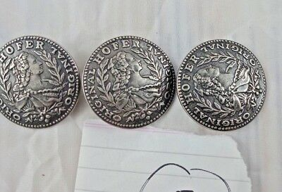 OLD VINTAGE BEAUTIFUL DESIGN HOFER METAL COAT BUTTON 3 PCs COLLECTIBLE  AUSTRIA