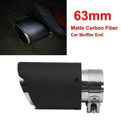 63mm Matte Carbon Fiber Car SUV Muffler Exhaust Pipe Tip Tailpipe End Universal