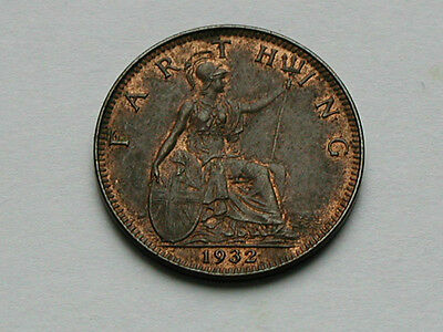 UK (Great Britain) 1932 FARTHING George V British Coin - AU+ Brown - Trace Red