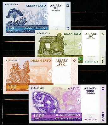 Madagascar Set of 4 CRISP Uncirculated 2004 Banknotes 100 200 500 & 1000 Ariary