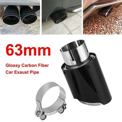 63mm-89mm Glossy Carbon Fiber Car Exhaust Pipe Tail Muffler End Tip Universal