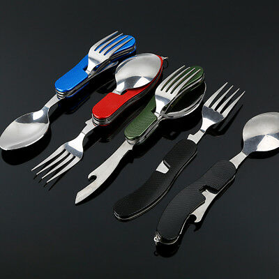 Outdoor 3 in 1 Foldable Fork Spoon Set Camping Tableware Picnic Cutlery SporkDFE
