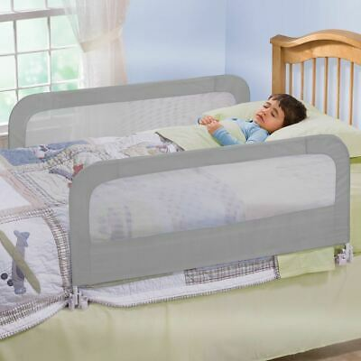 Double Safety Bed Rail/BedRail Cot Guard Protection Child Toddler Kids Grey