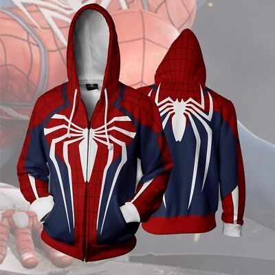 Insomniac Spider-man Costume PS4 Game Spiderman Sweatshirt Hoodie Zipper Jacket