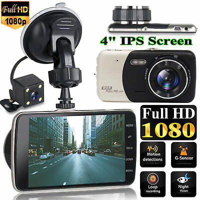 "4"" Car DVR Dash Cam Dashboard Video Dual Lens Camera 1080p HD Recorder G-Sensor"