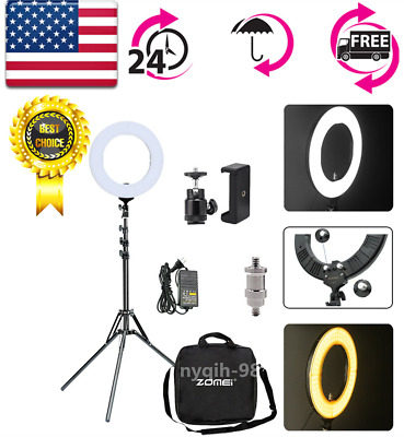 "US 14"" LED Dimmable Ring Light Phone Adapter Continuous Lighting Photography"