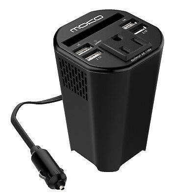 Moko 150W Power Inverter Adapter 12V DC To 110V AC Cup Holder 4 USB Port Charger