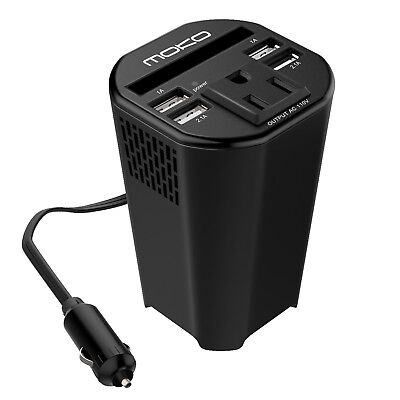 Moko 150W Power Inverter Adapter DC 12V to 110V AC Outlet Cup Converter Adapter