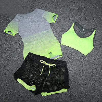 Women Ladies Sports Cover Tops Gradient Fitness Gym Yoga Bra Shorts 3PCS SET