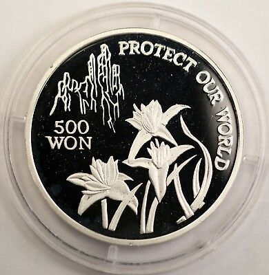 1992 Korea 500 Won Protect Our World Orchid Silver Coin Rare