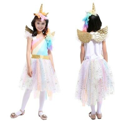 Kids Girls Unicorn Ruffled Tutu Dress Cosplay Princess Party Costume Outfit