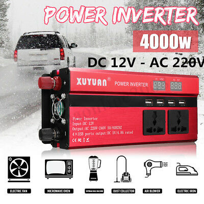 Solaire Power Inverter 4000W LCD 12V DC To 220V AC Modified Sine Wave Converter