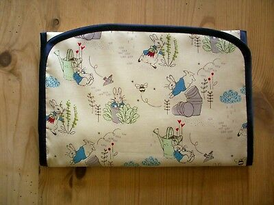 Handmade Baby Travel Changing Mat Liner Peter Rabbit Fabric Waterproof Backing