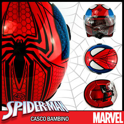Casco Jet Marvel Spiderman Spider Man Per Bambino Bimbo Baby - S / M / L