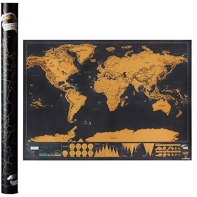 Large Scratch Off World Map Deluxe Edition Personalized Travel Log Poster Decor