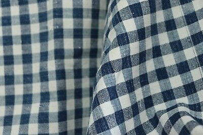 French antique HOME SPUN LINEN Kelsch blue white checks c 1900 mono HK