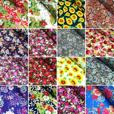 100% Cotton Fabric Floral Flowers Sunflowers Paisley Roses 145cm