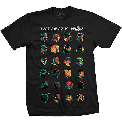 Avengers Infinity War Character Heads OFFICIAL Marvel Black Panther T-shirt
