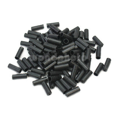 100Pcs Bike Bicycle Cycle Black Plastic Brake Cable Wire Tips Caps Crimps 4mm