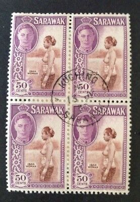 Sarawak 1950 Block Of 4 50 Cent Stamps Cancelled Kuching