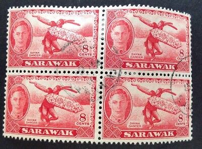 Sarawak 1950 Block Of 4 8 Cent Red Stamps Vfu