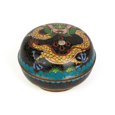 Antique Chinese Cloisonne Dragon Lidded Bowl 19Th C.