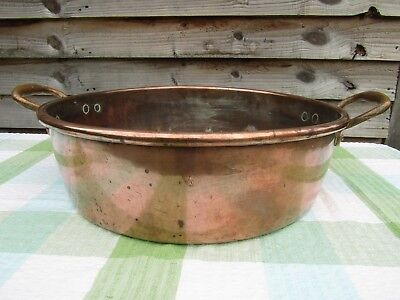 Antique 16 inch Copper Rolled Top Jam Pan Preserving Heavy 4.9KG Upcycle Prop