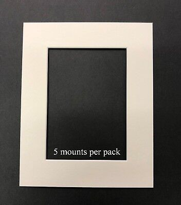 10 X 12 Inch White Mounts to fit 5 x 7 Picture/Photo - 5 PACK
