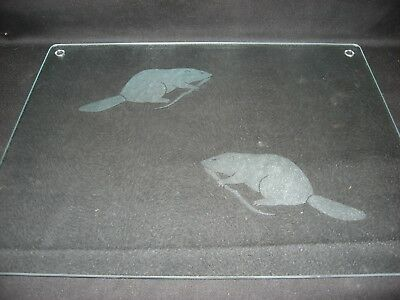 New Etched Beaver Glass Cutting Board